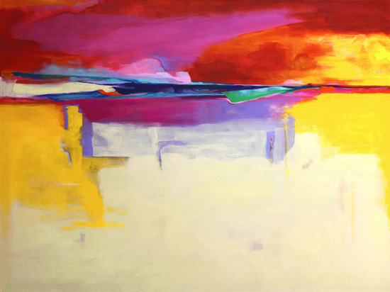 "This I Sing For The Setting Sun, by Joan Desmond, 36"" x 48"", acrylic on canvas"